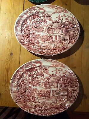 "Vintage Pair LARGE  oval platters ""The Hunter"" by Myott   Red  35 X 29 cm"