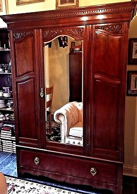Beautiful Antique Carved Victorian Wardrobe