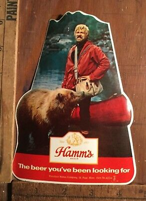 Vintage 1970's Hamm's Beer Sticker Bearded Man & Bear And Canoe Hipster Brewery