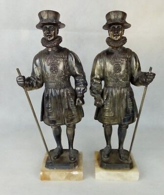 Pair LIMOUSIN Spelter Bronze. Yeoman of the Guard Statues.