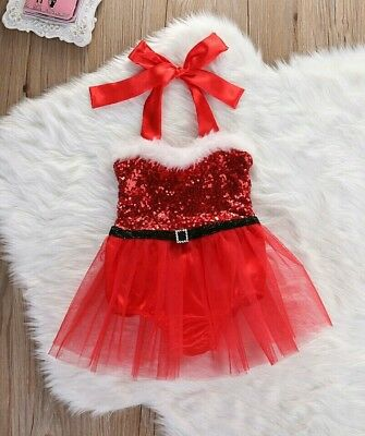 Christmas Present Baby Girl Santa Tulle Dress Outfit Costume Princess Gift UK