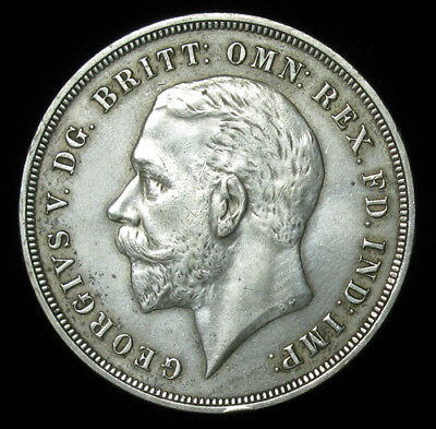 1935 Great Britain One Crown AU About Uncirculated silver coin