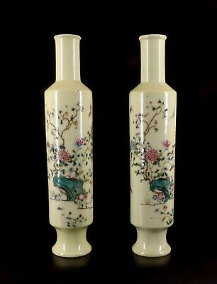 Pair of Chinese Antique Republic Famille-rose  Vases