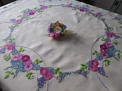 Vintage Hand Embroidered Linen Tablecloth=Exquisite Flower Circle -  So Delicate