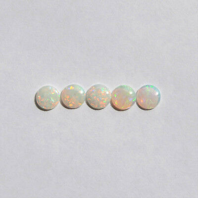 Natural Solid White Light Opal 2.96Ct 7Mm Round Australian Loose Unset 5 Pieces