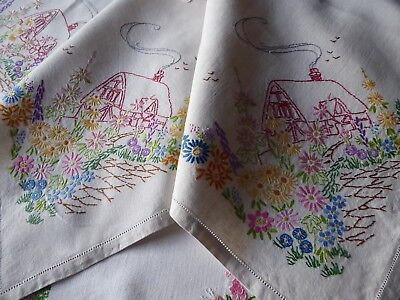 Vintage Hand Embroidered  Linen Tablecloth- Charming Little Cottages & Gardens