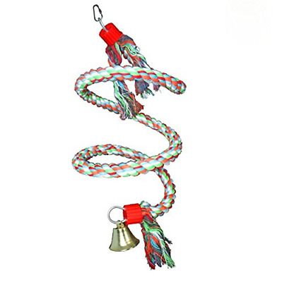 Bird Spiral Cotton Rope Perch, Parrot Swing Climbing Standing Toys with Bell By