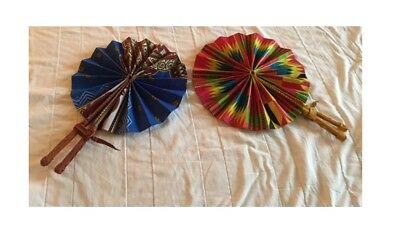 African folding Fan with Leather Hand Held Piece