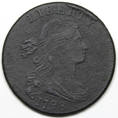1798 Draped Bust Large Cent, Style 2 Hair, obverse cud, XF detail