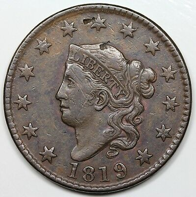 1819/(8) Coronet Head Large Cent, Large Date, VF-XF detail