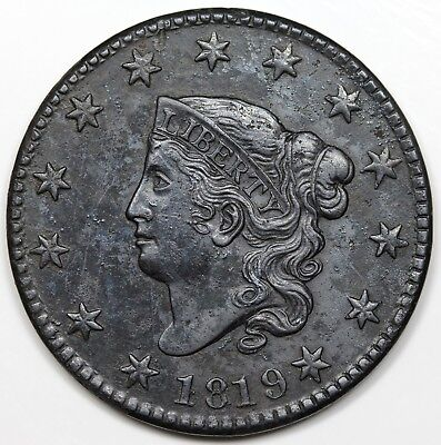 1819 Coronet Head Large Cent, Small Date, Close Stars, XF+ detail
