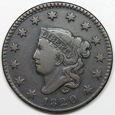 1820 Coronet Head Large Cent, Small Date, VF