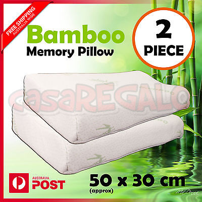 Bamboo Contour Pillow Memory Foam Fabric Fibre Cover 50 x 30cm 2piece AU Stock