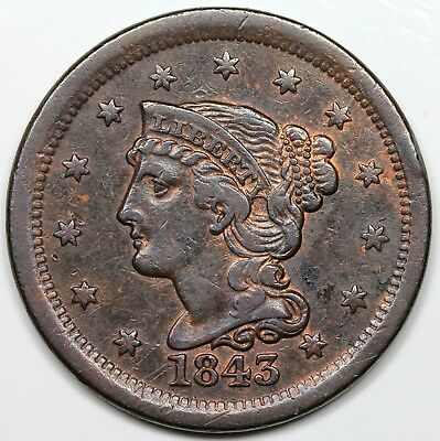 1843 Braided Hair Large Cent, Mature Head, VF+ detail