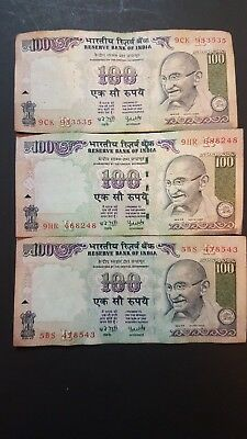 India 100 Rupees 3 Notes Gandhi Himalayan 5BS 9CK 9HR Circulated Currency Notes