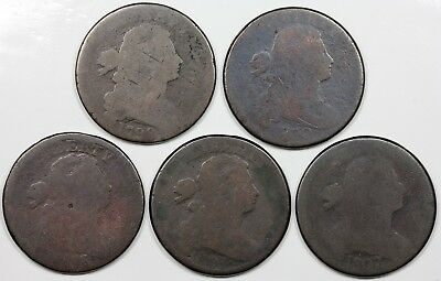 Lot of 5 lower grade Draped Bust Large Cents, 1798, 1800, 1803, 1805, 1807/6