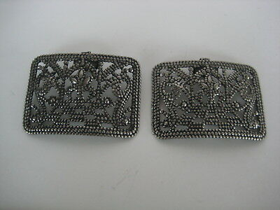 Antique Vintage Pair Large Arched Steel Cut Shoe Clips Buckles nice condition
