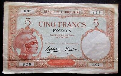 1941-45, New Hebrides/Caledonia 5 Francs Bank Note, ND Provisional Issue Pick 4b