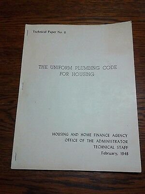 Vintage 1948 National Plumbing Code Book ~The Uniform Plumbing Code For Housing