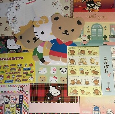 Hello Kitty Sanrio San-X Stationery set vintage Paper Letter Memo Stickers Lot