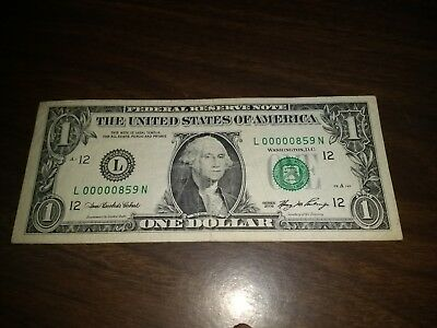 RARE 2006 $1 ONE Dollar Bill VERY LOW SERIAL NUMBER L00000859N