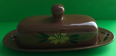 Vintage Stangl Red Stoneware Trenton New Jersey Yellow Flower Butter Dish Lid