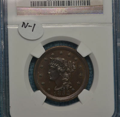 1852 N-1 Large Cent nice...NGC MS63BN