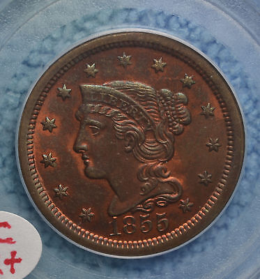 1855 N-4b Large Cent nice...PCGS MS64RB CHOICE!