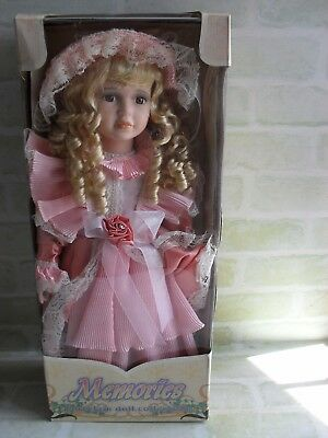Adorable- Memories- Porcelain Hand Painted In Pink Dress Doll- 51 Cm- New