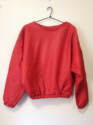 Vintage SIRICCO red real leather jumper excellent condition ladies M-L