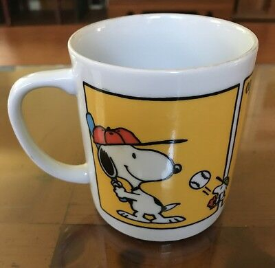 Vintage Snoopy Peanuts United Features Home  Run Hero Ceramic Mug