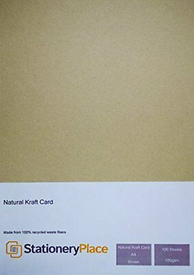 Stationery Place Brown Recycled Natural Kraft Paper - A4 100 GSM 100 Sheet Pack