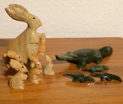 Lot Of 9 Soapstone Animal Figurine Carvings Rabbits & Alligators