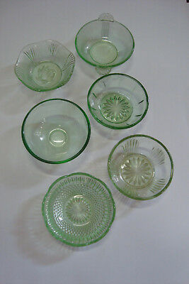 Vintage Green Depression Glass Sweet Bowls -Collection Of