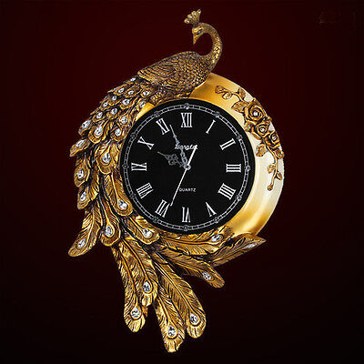 Europe Rural Style Golden Resin Peacock Mute Clock Wall Decoration Wall Clock