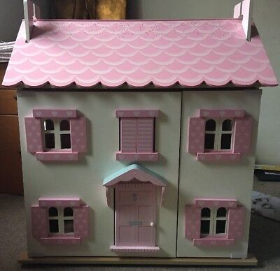 Le Toy Van Sophie's Pink/White 3 Story Large Wooden Dolls House Shutters VGC