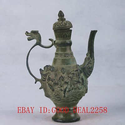 Chinese Bronze Handwork Carved the Eight Immortals Teapot W Qianlong Mark QT064