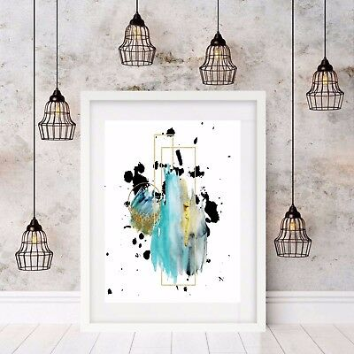 Contemporary Wall Art Print - Geometric Shapes Blue Watercolour Modern A3 Print