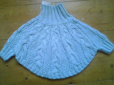 NEXT Baby Girls Blue Cable Poncho Age 6-12 Months BNWT