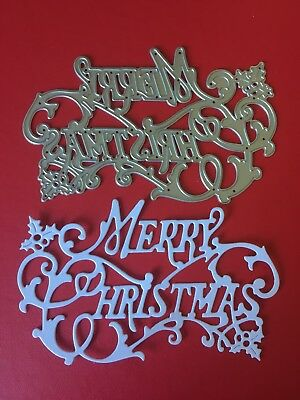 NEW• MERRY CHRISTMAS HOLLY VINE GREETINGS DIE 1pce For Sizzix Or Cuttlebug