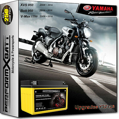250CCA AGM Battery YTZ14S Yamaha Bolt XVS 950 V-Star T-Max XP 500 530 V-Max 1700