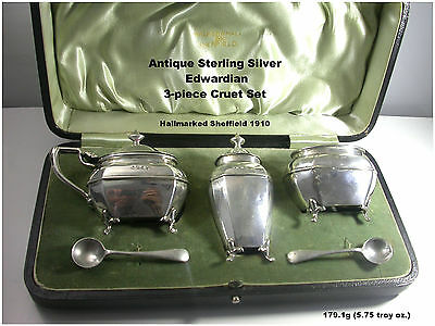 Antique Silver Cruet Set Edwardian Sterling HM c1910 Walker & Hall 3 pce Boxed