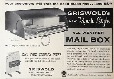 1955 Ad(H1)~Griswold Mfg. Co. Erie, Pa. All-Weather Ranch Style Mail Box