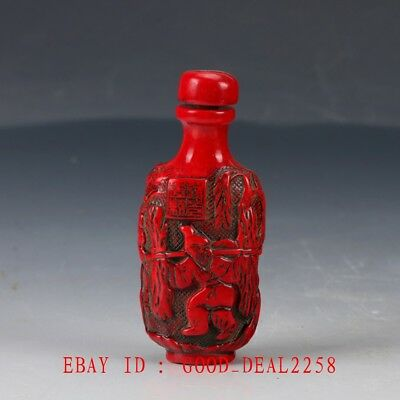 Crusted Chinese Red Coral Handwork Carved Woodcutter Snuff Bottle