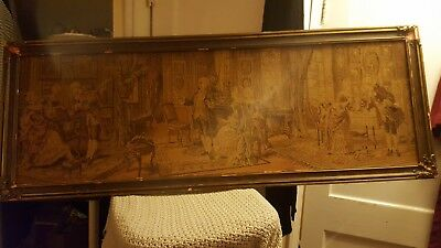 Antique / vintage / old tapestry w/tattered frame. Cotton thread  Not signed.