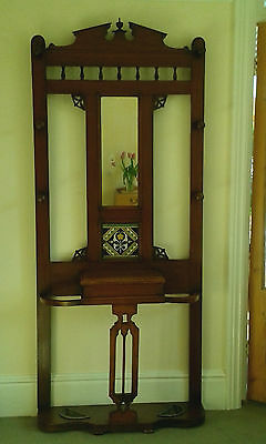 Antique Arts and Crafts Oak Victorian Hall / Coat Stand with pretty tile
