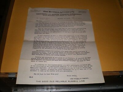 1919 Letter Russell Tractor - Threshing and Power Farming Machinery Peoria IL