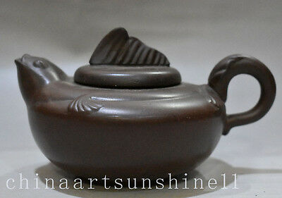 Chinese Collection Yixing Zisha Teapot Handmade Carved Fish Statue Art