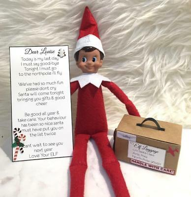 Elf On The Shelf Christmas Accessories Custom Elf Goodbye Letter & Suitcase