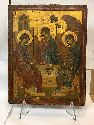 Antique Russian icon of The Holy Trinity 19TH Century